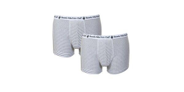 Set pánských šedo-bílých pruhovaných boxerek Beverly Hills Polo Club