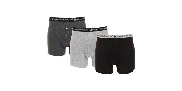 Set černých, tmavě šedých a světle šedých pánských boxerek Beverly Hills Polo…