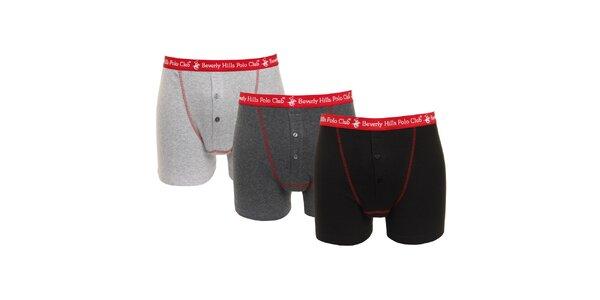 Set černých, tmavě šedých a světle šedých pánských boxerek s červenou gumou…