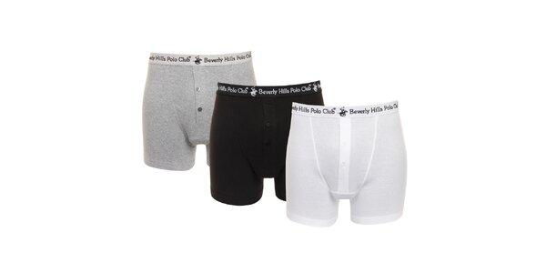 Set černých, šedých a bílých pánských boxerek Beverly Hills Polo Club