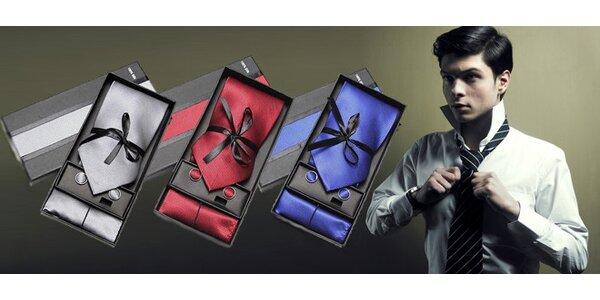 Set kravaty, kapesníčku a manžetových knoflíčků