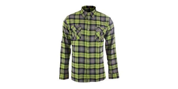 Pánská šedo-zelená kostkovaná košile Authority