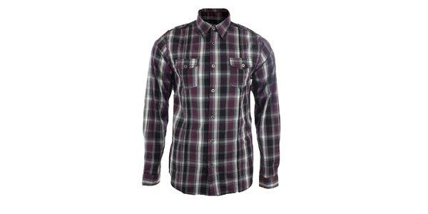 Pánská černo-vínová kostkovaná košile Authority