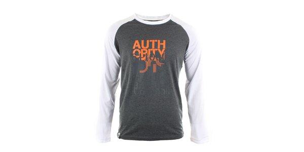 Pánské šedo-bílé triko s potiskem Authority