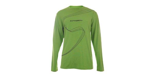 Pánské zelené tričko s potiskem a dlouhým rukávem Authority