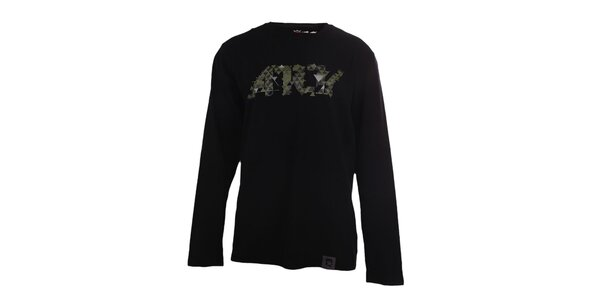 Pánské černé tričko s potiskem a dlouhými rukávy Authority