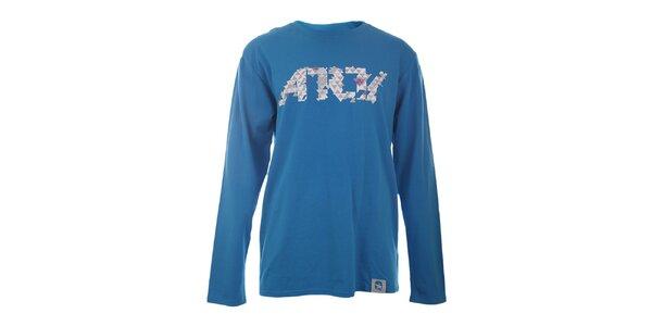 Pánské modré tričko s potiskem a dlouhými rukávy Authority
