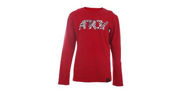 Pánské červené tričko s potiskem a dlouhými rukávy Authority