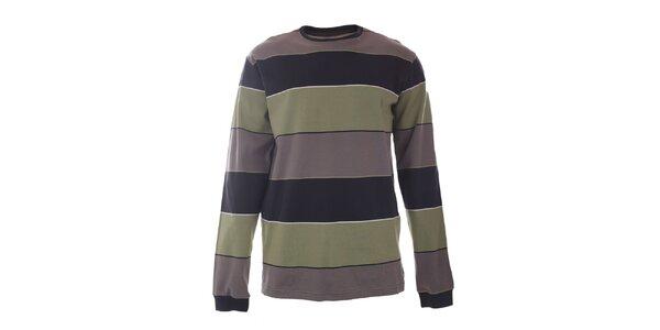 Pánské zeleno-šedě pruhované tričko s dlouhým rukávem Authority