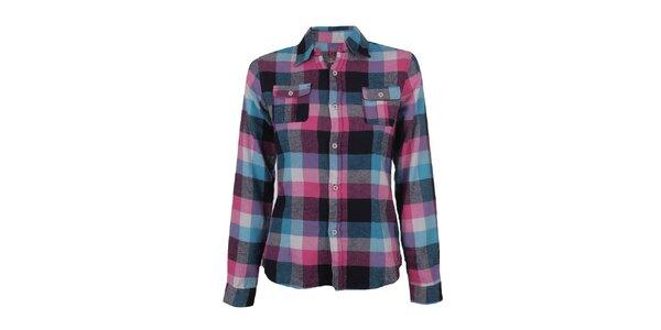 Dámská růžovo-modrá flanelová kostkovaná košile Authority
