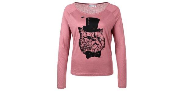 Dámské růžové triko s kocourem Sublevel