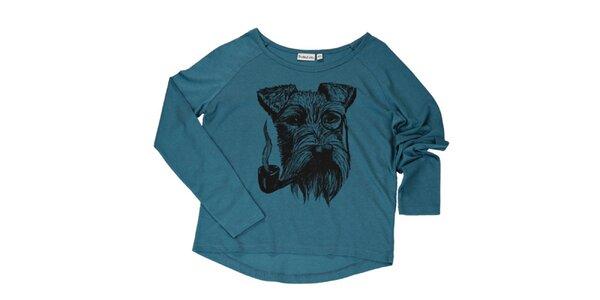 Dámské petrolejově modré triko s kníračem Sublevel