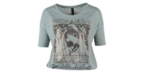 Dámské krátké šedozelené tričko s potiskem Fresh Made