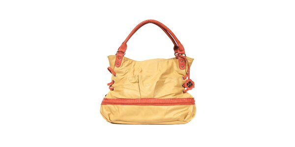 Světle oranžovohnědá kabelka značky Doca s červeným zdobením