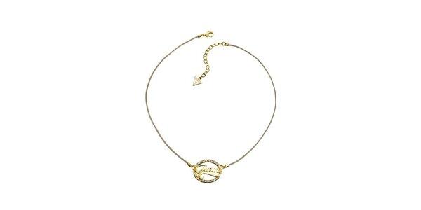 Dámský zlatý náhrdelník s nápisem Guess