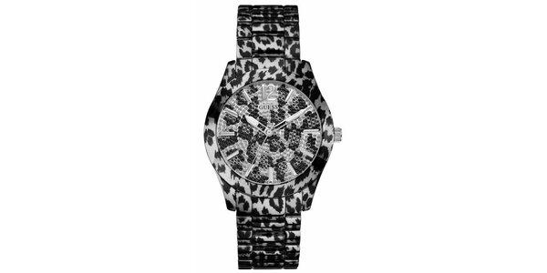 Dámské černo-bílé tygrované ocelové hodinky Guess