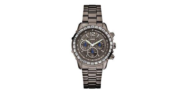 Dámské sportovní ocelové hodinky s krystaly Guess