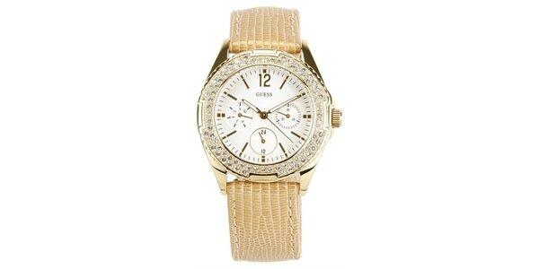Dámské zlaté ocelové hodinky s kamínky Guess