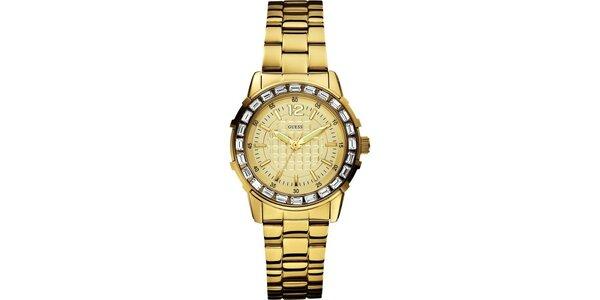 Dámské analogové hodinky ve zlaté barvě Guess