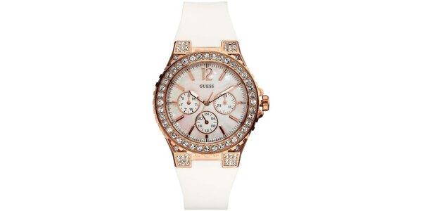 Dámské analogové hodinky s bílým páskem Guess