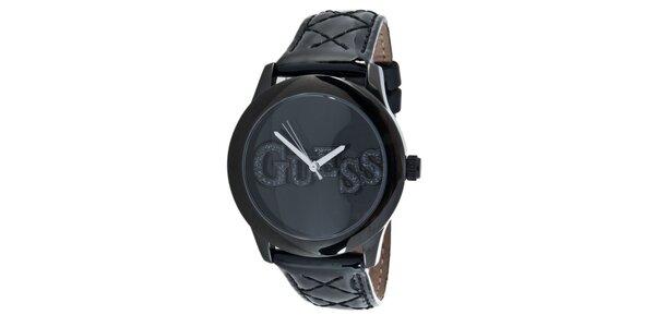 Dámské černé ocelové hodinky s třpytivým nápisem Guess