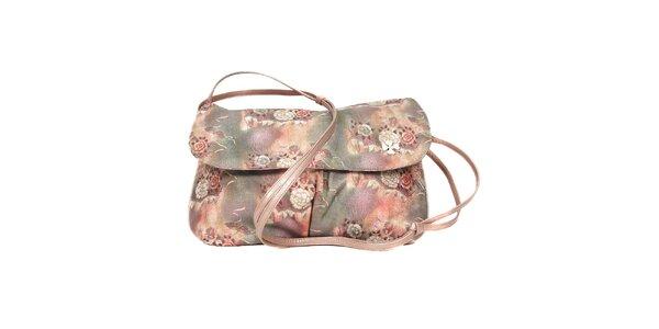 Šedorůžová kabelka značky Doca s romantickým květinovým motivem