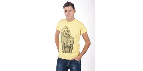 Pánské světle žluté tričko De Puta Madre 69 s Marilyn