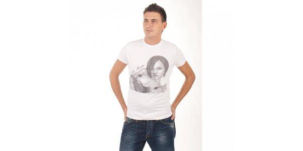 Pánské bílé tričko De Puta Madre 69 s potiskem