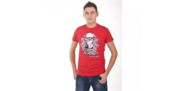 Pánské červené tričko De Puta Madre 69 s potiskem