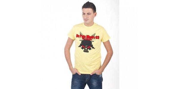 Pánské světle žluté tričko De Puta Madre 69 s potiskem