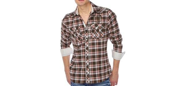 Pánská hnědá kostkovaná košile M. Conte