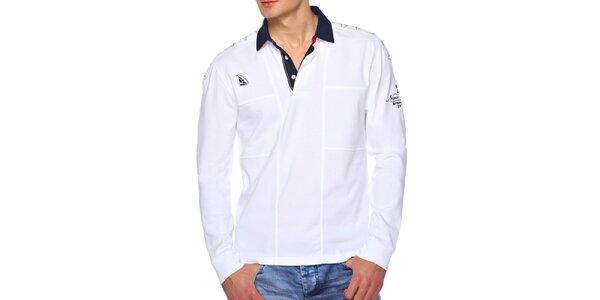 Pánské bílé polo triko s dlouhým rukávem M. Conte