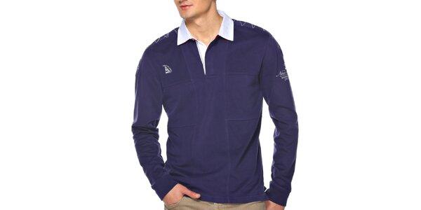 Pánské modré polo triko s dlouhým rukávem M. Conte