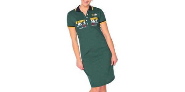 Dámské olivové šaty s límečkem M. Conte