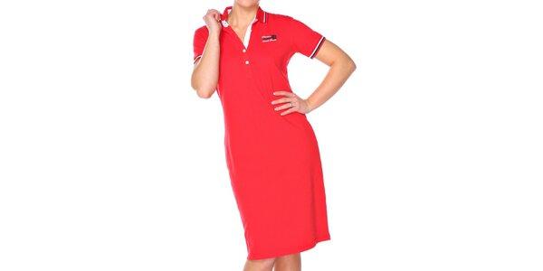 Dámské rudé bavlněné šaty M. Conte s límečkem
