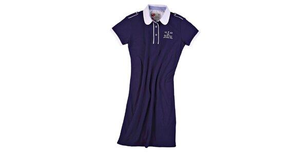 Dámské námořnicky modré šaty s kulatým límečkem M. Conte