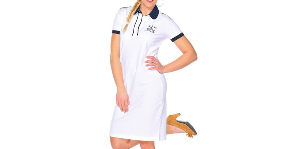 Dámské bílé šaty s kulatým límečkem M. Conte