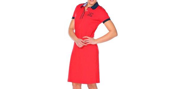 Dámské rudé šaty s kulatým límečkem M. Conte