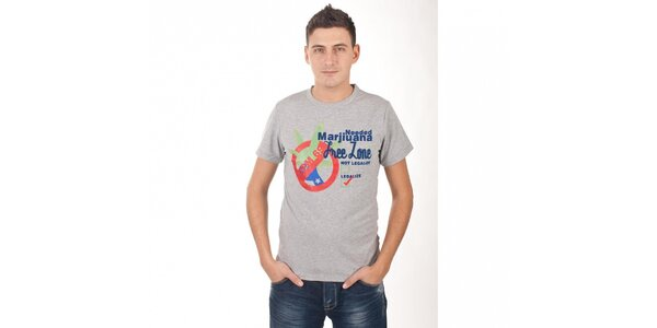 Pánské světle šedé melírované tričko De Puta Madre 69 s potiskem