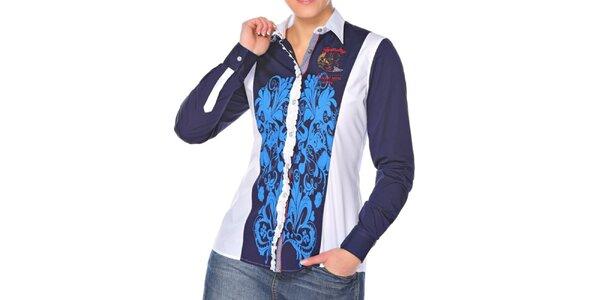 Dámská modro-bílá košile se vzorem M. Conte