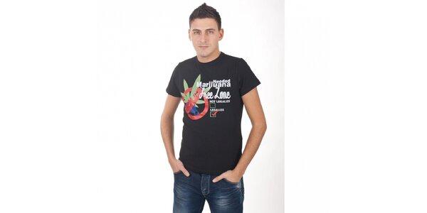Pánské černé tričko De Puta Madre 69 s potiskem