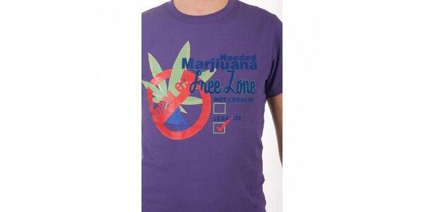 Pánské fialové tričko De Puta Madre 69 s potiskem