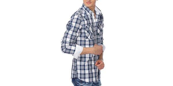 Pánská modrobíle kostkovaná košile M. Conte