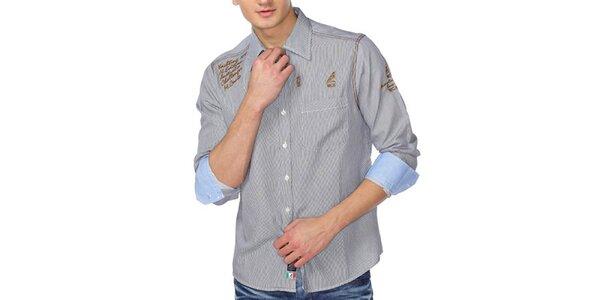 Pánská šedá košile s pruhy a zlatými nápisy M. Conte