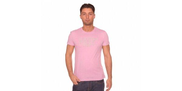 Pánské růžové triko Calvin Klein s šedivým potiskem