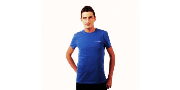 Pánské zářivě modré triko Calvin Klein