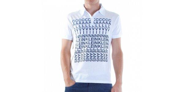 Pánské bílé polo Calvin Klein s modrým potiskem