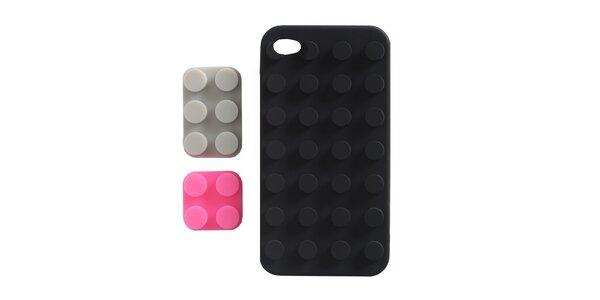 Černé silikonové pouzdro na iPhone 4/4S Lego