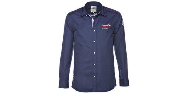 Pánská tmavě modrá košile s výšivkou M. Conte