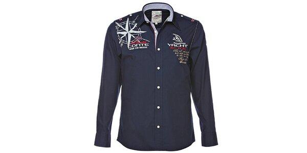Pánská tmavě modrá košile s jachtařskými motivy M. Conte
